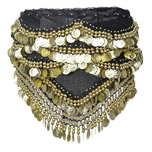 BellyLady - Cinturón/pañuelo con monedas doradas para danza del vientre