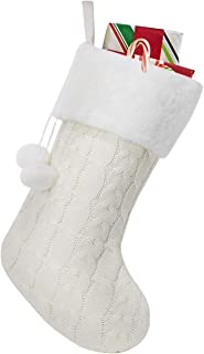 Townshine Cable Knit Christmas Stockings, 16 Inches Plush Faux Fur Cuff Knitted Xmas Stocking for Family Holiday Decorations (1, Beige)