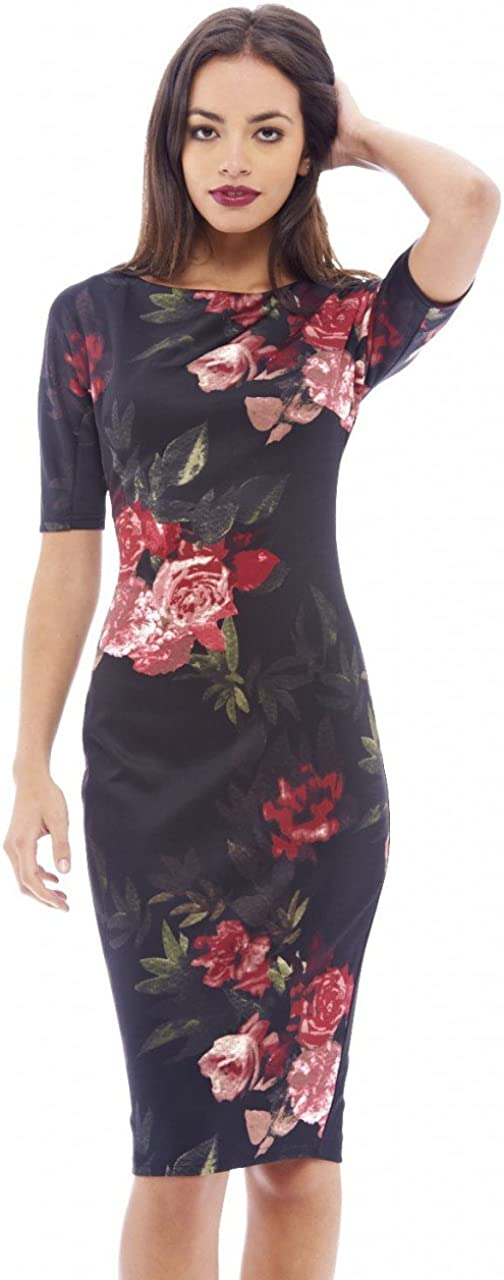 AX Paris Women's Floral Short Sleeved Midi Dress