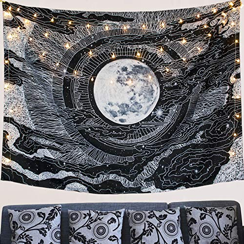 Accnicc Moon and Star Tapestry Wall Hanging Tapestries Black & White Wall Blanket Wall Art for Living Room Bedroom Home Decor (Black, 60''x 80'')