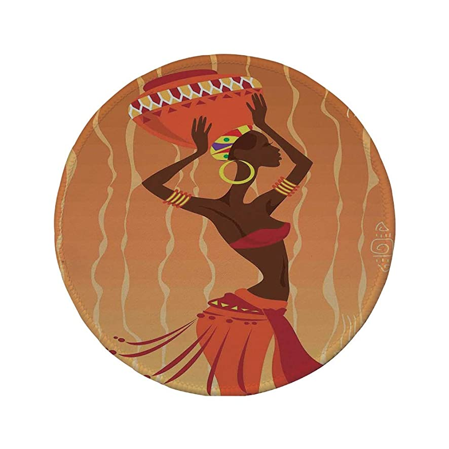 Non-Slip Rubber Round Mouse Pad,Afro Decor,Vintage Tribal Art Stylized Girl in Ritual Ceremony Traditional Fashion Image,Orange Amber,11.8