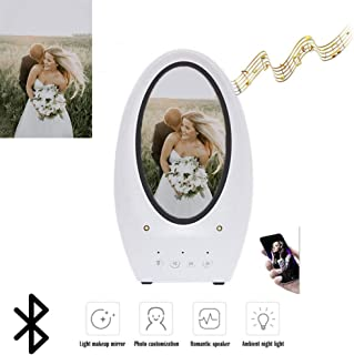 Makeup Vanity Mirror with Lights,Personalized LED Lighted Make up Mirror with Bluetooth Speaker Rechargeable Cosmetic Mirrors