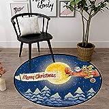 Tapis rond à poils longs et très doux pour chambre à coucher - Pour jeux d'enfant - Bleu foncé - Rouge souci - Noël, Père Noël - Avion vintage - Pleine lune - Arbres enneigés