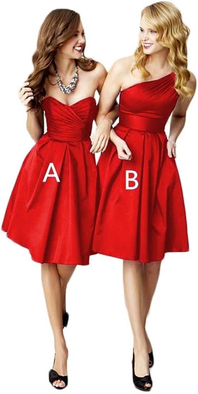 FTBY Women's Sweetheart One Shoulder Satin Aline Short Prom Homecoming Dresses Girlfriend Dresses 133
