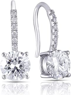 Platinum Plated Silver 2ct Center 6.5mm H Near Colorless Moissanite Hoop Earrings with Accents for Women