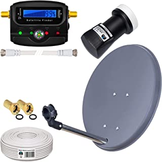 HB-DIGITAL Complete satellietset: Mini satellietsysteem 40 cm kom antraciet + LNB 0,1 dB + 10 m kabel + SAT-vinder met dig...
