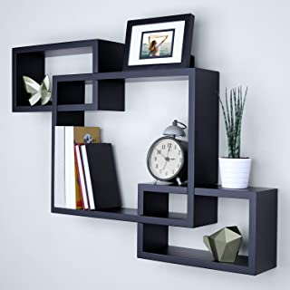 "Ballucci Wooden Interweave Floating Wall Mounted Shelves, Horizontal and Vertical Display Storage Shelf for Living Room Bedroom Entryway Hallway Bathroom, 26"" x 18"", Black (Renewed)"
