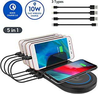 Charging Station with QC 3.0 Quick Charge,ayepow Multiple Phone Dock Stand with 10W QI Wireless Charging Pad&4 USB Ports,Charging Docking Stand Compatible for iPhone,Ipad,Samsung(Black)