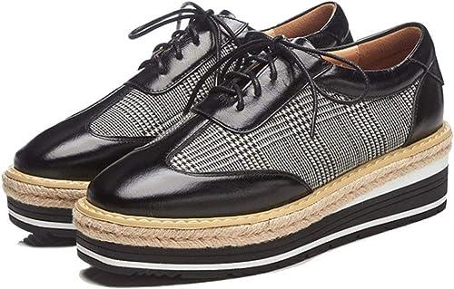 RLYAY Mocassins Femme Square Square Flat Chaussures Décontracté 5.5Cm Noir Bourgogne  avec 60% de réduction