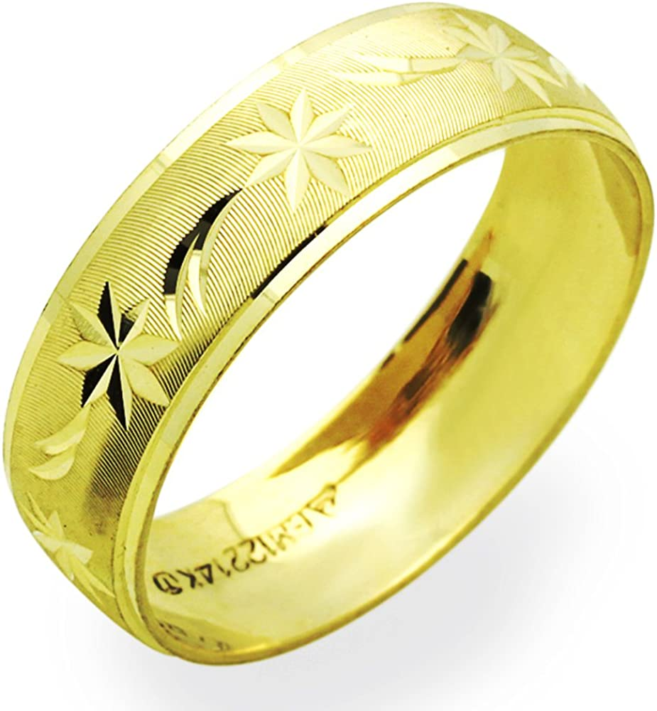 14K Yellow Gold 6mm Wedding 5 Band Max 42% OFF Animer and price revision 12 Size to