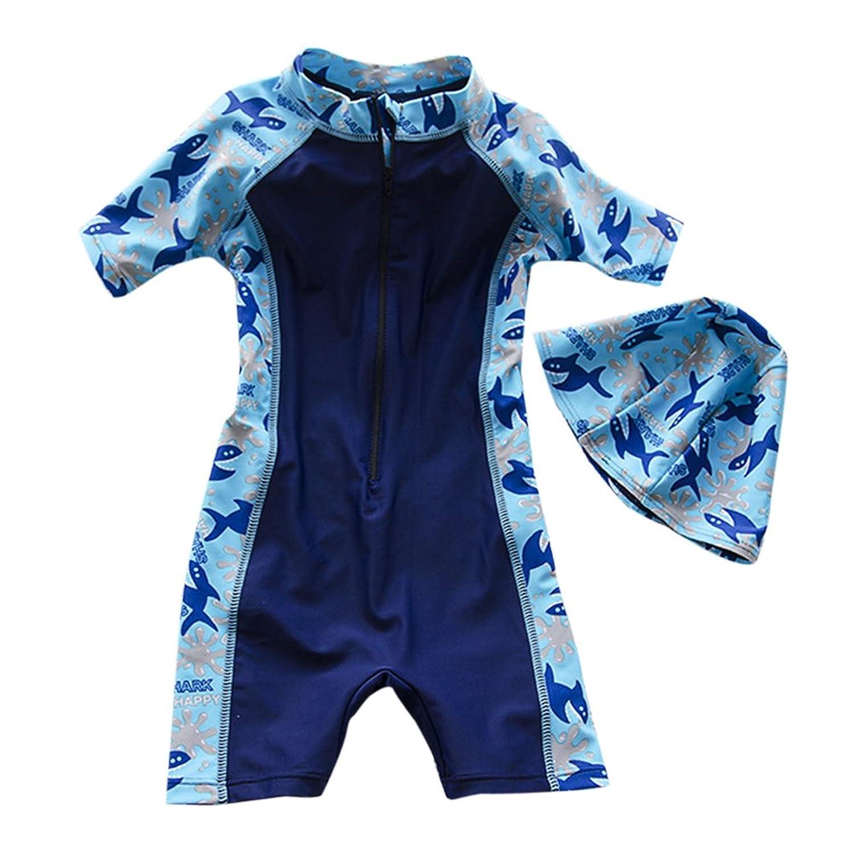 Zhhlaixing 児童 Simple Siamese Swimsuit with Hat Boys 休日 Beach Sports 水泳のコスチューム 水着