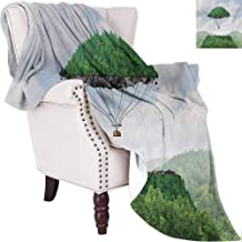 MKOK Fantasy Bedding Microfiber Blanket Detached Top of Mountain Floating Up to Sky As a Hot Air Balloon Imaginative Artwork Super Soft and Comfortable Luxury Bed Blanket W57 x L74 Inch Green