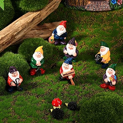 7 Statue in Resina Fata degli Gnomi Decorazione Mini Statue da Giardino Statua di Gnome Tale con 2...