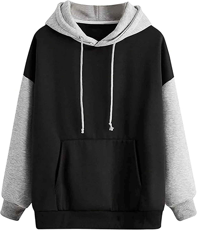 Black Hoodie Pullover Women Patchwork Crewneck Sweatshirts Loose Casual Tops Long Sleeve Blouse