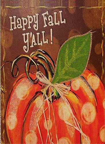 Dyrenson Home Decorative Outdoor Happy Fall Yall Garden Flag Double Sided, Welcome Quote House Yard Flag, Autumn Harvest Pumpkin Primitive Garden Yard Decorations, Seasonal Outdoor Flag 12 x 18