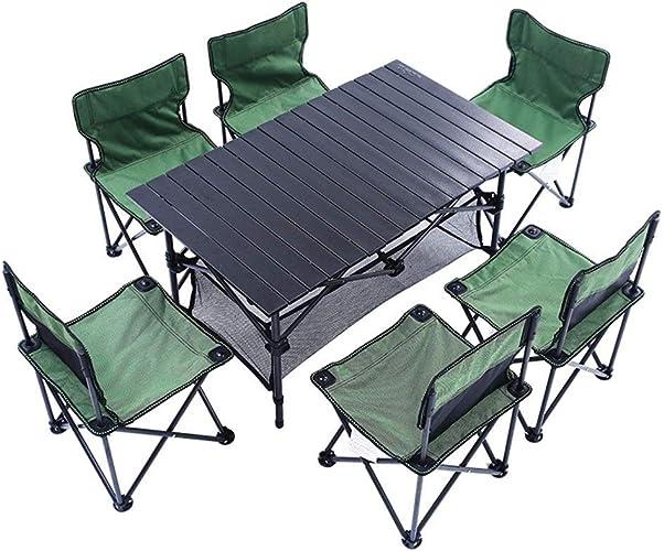 SHELFDQ Chaises nettes de Table Pliante portative de Camp extérieur léger avec Sac de Transport, 6 chaises + 1 Table, Taille compacte pour Le Camping, Les Voyages et Les barbecues de Plein air