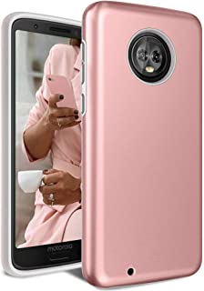 Moto G6 Case, Androgate [Pearl Series] Hybrid Matte Protective Back Cover Bumper Case for Motorola Moto G 6th Generation (2018), Pink Gold