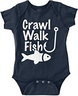 Crawl Walk Fish Funny Fishing Routine Humor Romper Bodysuit