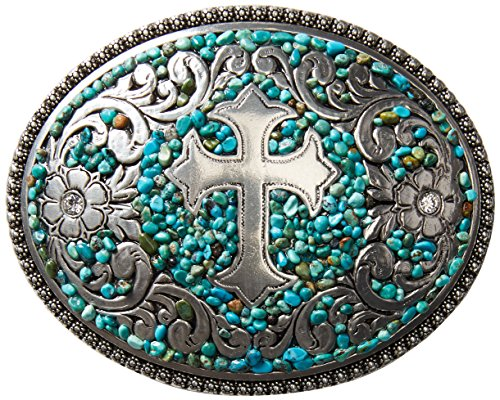 M F Western Products Womens MF Ladies Stone Cross Buckle Turquoise