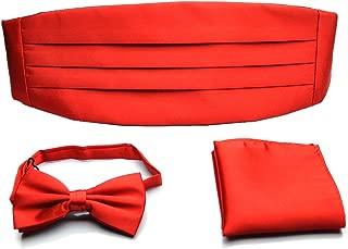 Mens Formal Solid Pre-tied Bow Tie & Pocket Square & Cummerbund Set - Various Colors