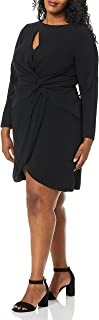 Dress the Population womens COBY Long Sleeve Stretch Crepe Twist Short Dress PLUS Dress