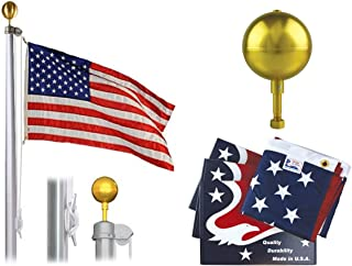 Made in The USA!! 20' Commercial Grade Three Section Tapered Flagpole with Embroidered Flag for Residential, Business, Schools Governments.