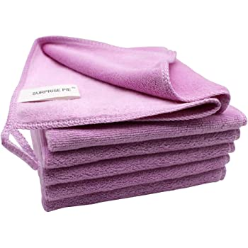 SURPRISE PIE Microfiber Clothes for House Cleaning Soft Pink Pack of 6 Towels Bulk Reusable Rags Scratch Free Polishing Cloth Auto Window Cleaners Furniture Dust Cloths 2PCS Screen Cloth as Gift