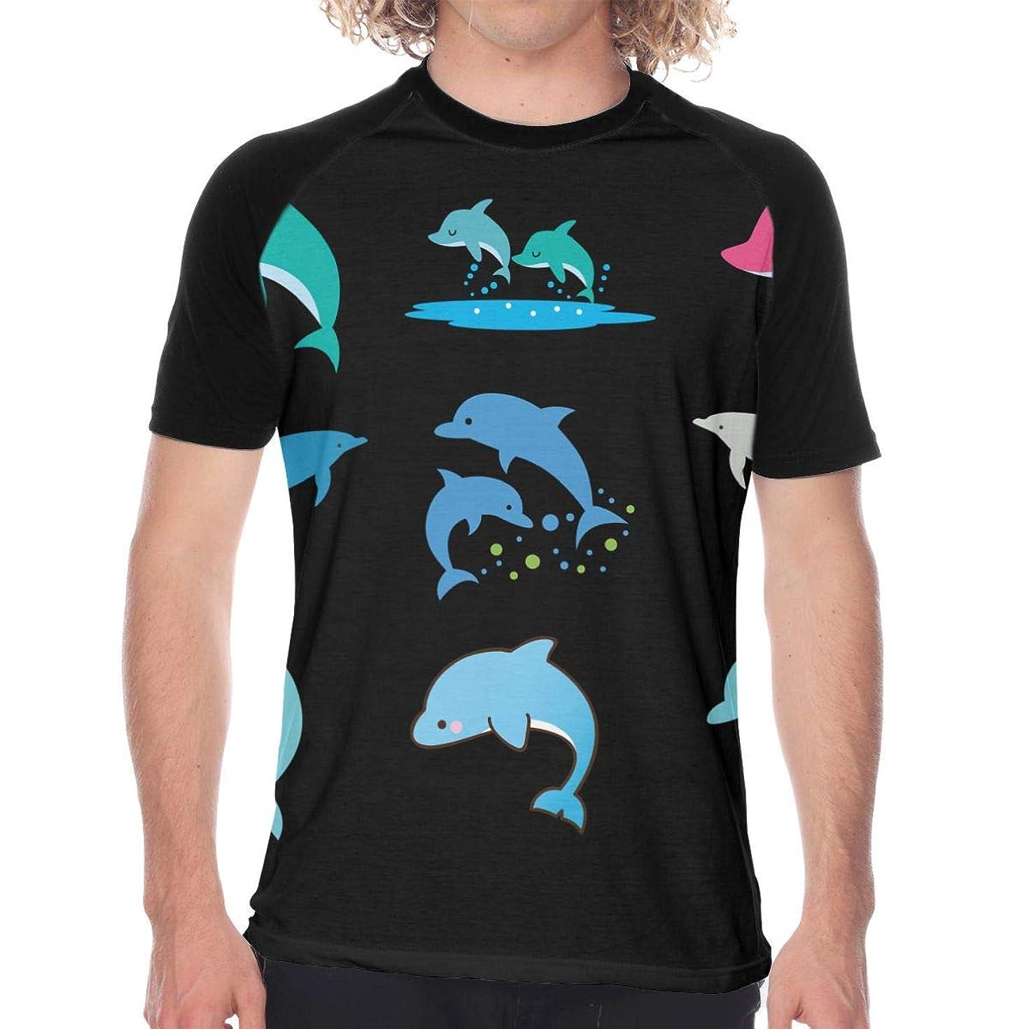後エキス出発するシャチ家族のワイシャツ メンズ シャツ 半袖 薄手 カットソー カジュアル トップス オリジナル プリント シンプル ファッション