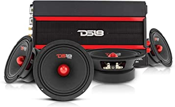 $299 » DS18 Car Audio Door Speaker Combo with Amplifier - 4 x 6.5 4-Ohm Bullet Midrange Speakers PRO-GM6.4B with 4 Channel Class ...