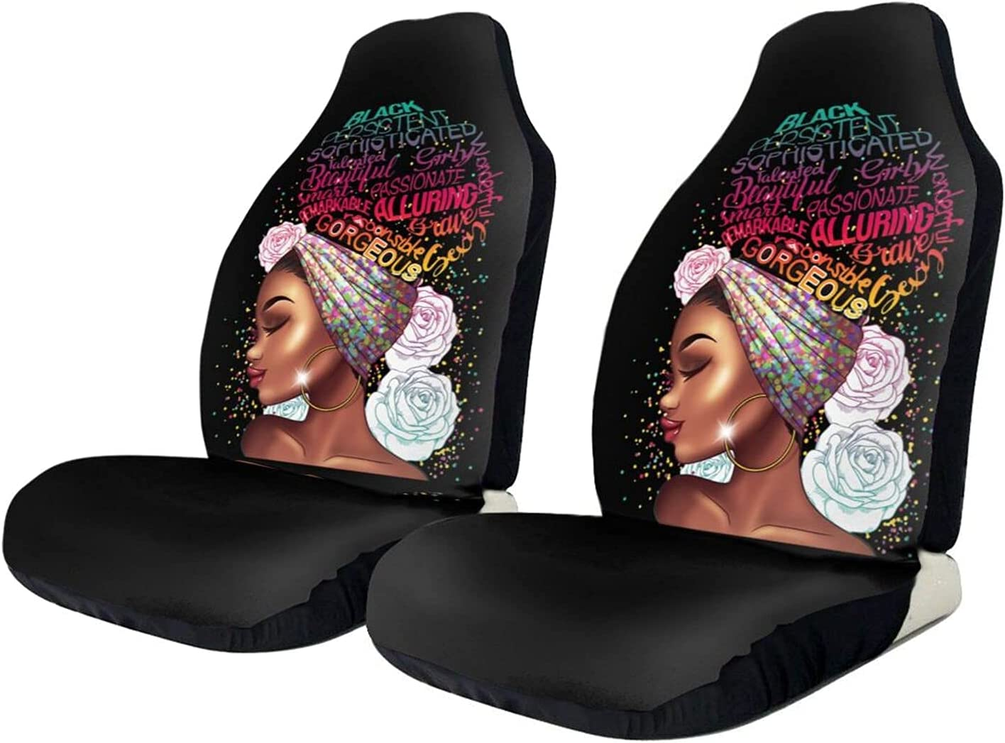 ZHUBAJIE 2 Same day shipping PCS Car Seat Covers Black Magic SEAL limited product Chic Hair F Girl with