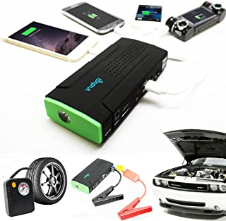 Indigi Portable 12800mAh Emergency Vehicle Jump Starter Flat Tire Air Compressor Flat Tire Air Pump Power