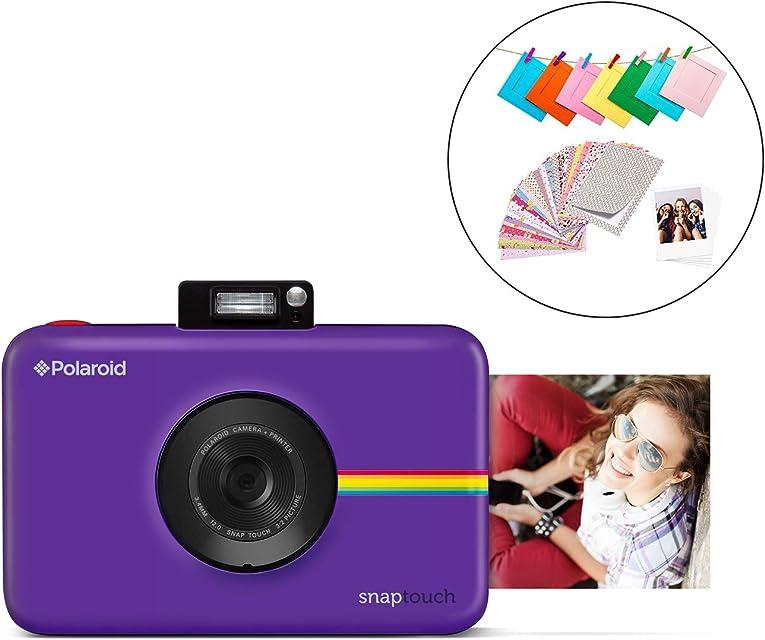 Polaroid Snap Touch 2.0 - Cámara digital portátil instantánea de 13 MpBluetooth pantalla táctil LCD tecnología Zink sin tinta y nueva aplicación copias adhesivas de 5 x 7.6 cm purpura