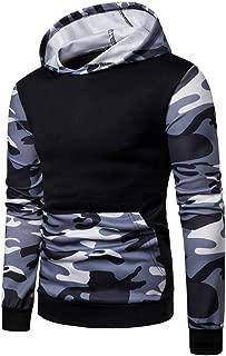 Realdo Mens Camo Hoodie Sweatshirt, Mens Splice Camouflage Military Combat Hooded Pullover Tops