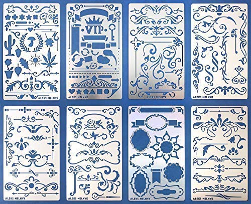 Aleks Melnyk #42 Metal Journal Stencils/Flowers and Vines, Ornament, Vintage, Finds Small Stencils Patterns, Templates for Painting on Wood, on Walls/Furniture Crafts