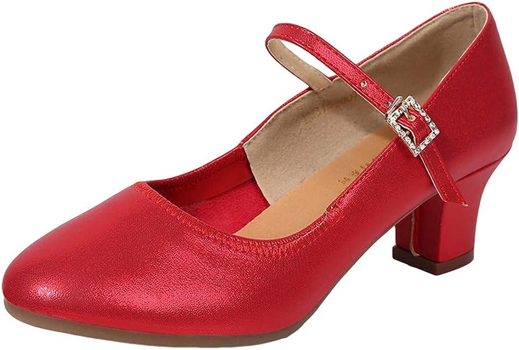 Pzhhzpingg Close Toe Dance Shoes for Women Fashion Solid Color High Heel Shoes Dress Shoes Ballroom Shoes Walking Shoes