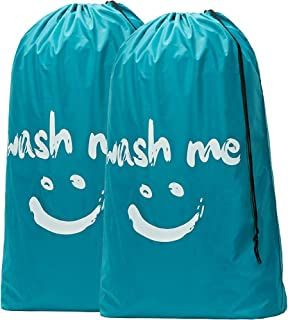 HOMEST 2 Pack Wash Me Travel Laundry Bag, 28 x 40 Inches Rip-Stop Nylon Heavy Duty Dirty Clothes Bag with Drawstring, Machine Washable, Anti-Odor, Blue