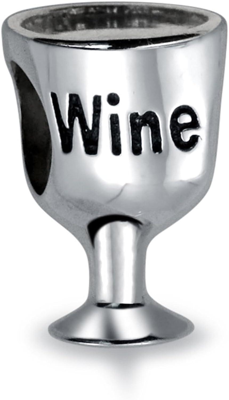 Wine Goblet Glass Fine Pewter Pendant Charm