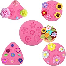 MOMOONNON 5 Pack Candy Making Decorations Flower Cake Fondant Mold Pastry Tools Sunflower Daisy Baking Silicone Small DIY Clay Molds