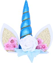 BESTOYARD Unicorn Horn Cake Topper Ears and Flowers Cake Decoration Birthday Baby Shower Unicorn Theme Party Supplies (Blue)
