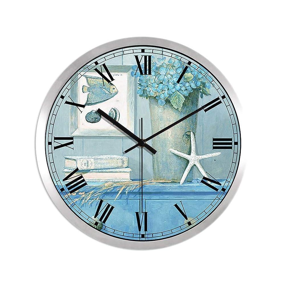 プログラムホイップいつブルーオーシャンウォールクロック、地中海風メタルフレームコーティングされた紙の時計の文字盤のサイレントクォーツ時計、ホームオフィスカフェの壁の装飾、35 * 35 cm、シルバー