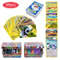 84Pcs Carte de Pokemon Jeux de Cartes, GX Cartes EX Energy Trainer Cartes, Pokemon Flash Cartes, Sun & Moon Series, TeamUp