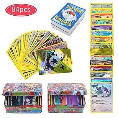 84Pcs Carte de Pokemon Jeux de Cartes, GX Cartes EX Energy Trainer Cartes, Pokemon Flash Cartes, Sun & Moon Series, TeamUp
