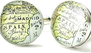 Madrid Spain Antique Map Cuff Links by DLK Designs