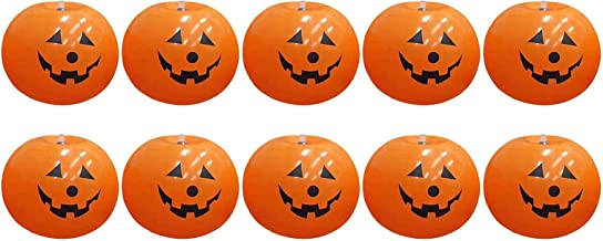 AUTUUCKEE 10 STKS Muur Pompoen Licht LED Gloeiende Ballonnen Halloween Decor Batterij Operated Opknoping Ornament (Oranje)