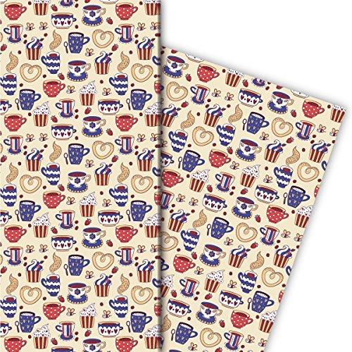 Kartenkaufrausch koffiepauzes cadeaupapier set met kopjes en planken voor lieve cadeauverpakking, designpapier, scrapbooking 32 x 48 cm, decoratief papier, inpakpapier voor inpakken, rood blauw