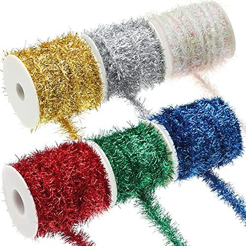 6 Rotoli di Ghirlanda di Orpelli di Natale Ghirlanda Natalizia con Glitter Colorati Ghirlanda di Tinsel Metallica Sottile Nastro Natalizio in Filo Metallico per Decorazioni Interni Esterni