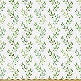 ABAKUHAUS Grün Microfaser Stoff als Meterware, Symmetrische Olivenblätter, Deko Basteln Polsterstoff Textilien, 2M (148x200cm), Grün