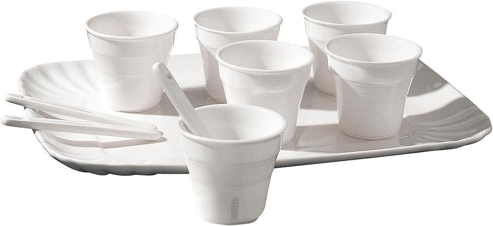 Seletti, set: 6 bicchierino caffe`+6 palettine+1 vassoio cm.18,5x27 ,in porcellana URQ-039