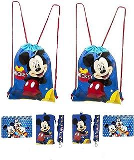 حقائب ظهر برباط ميكي وميني ماوس بالإضافة إلى أربطة مع محفظة عملات قابلة للفصل وكتب توقيعية (مجموعة من 6)