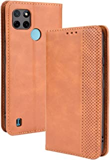 LAGUI Compatible for Realme C21Y Case, Retro Style Wallet Magnetic Cover with Credit Card Slots and Flip Stand. brown